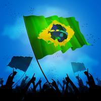 foule de fans de sport brésil avec drapeaux vecteur