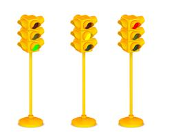 Feu de signalisation jaune 3D isolé sur fond blanc vecteur