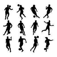 silhouettes joueurs de foot vecteur