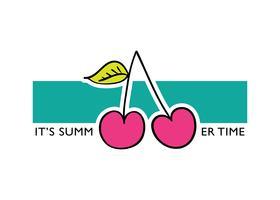 C'est le texte du slogan de l'heure d'été avec la cerise vecteur