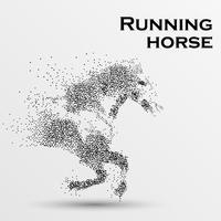 Cheval au galop, particules, illustration vectorielle.