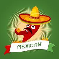 Caricature de piment mexicain vecteur