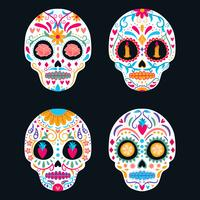 Ensemble de crâne de sucre coloré isolé. Jour des morts, Dia de Los Muertos, bannière / affiche avec fleurs mexicaines colorées, crâne, bougie Fiesta, affiche de vacances, flyer du parti, carte de voeux drôle, modèle vecteur