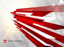 Perspective abstraite technologie géométrique couleur rouge brillant motion fond et lignes de texture avec effet de rafale de lumière.