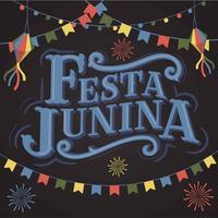 Festa Junina vieille école police classique vintage lettrage fond avec affiche de drapeaux de fête, lanterne de papier et feu d'artifice. Brésil juin vacances. Bannière, vecteur, illustration