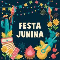 Festa Junina Brésil juin Festival dessiné à la main. Fête de village en Amérique latine. Fille garçon guitare accordéon cactus été tournesol feu de camp. Fond - Illustration vectorielle