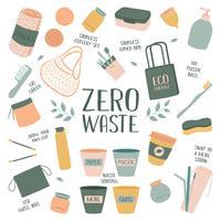 Hand Drawn Zero Waste Element Icon Set Background. Eco Vert. Moins de plastique. Respectueux de la nature. Eco Vert. Eco Life. Jour de la Terre. Infographie. Vecteur - Illustration