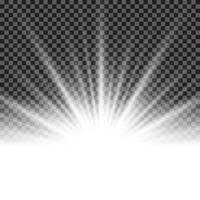 Effet lumineux sunburst ou rayons de soleil sur fond transparent. vecteur