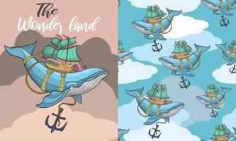 Baleine dessiné main volant sans soudure vecteur