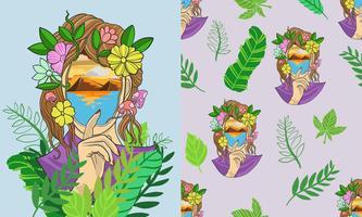 Modèle sans couture tropical fille fantaisie