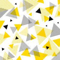 Modèle abstrait moderne de triangles jaunes et noirs avec des lignes en diagonale sur fond blanc.