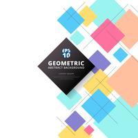 Fond géométrique abstrait motifs colorés et carrés.