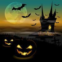 Château noir d'Halloween vecteur