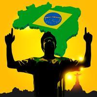 Un footballeur brésilien célèbre vecteur