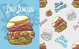 Modèle sans couture de hamburger