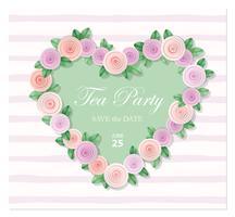 Coeur décoré avec un modèle de roses. Anniversaire, invitation de mariage, carte de la Saint-Valentin, couverture de cahier pour les filles.
