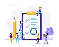 Liste de tâches - page avec des coches et un crayon. Illustration de concept pour la gestion du temps et des projets. Modèle d'illustration vectorielle dans un style plat
