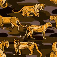 Modèle sans couture dessiné main léopard vecteur