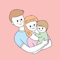 Dessin animé parents mignons et vecteur de bébé.