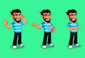 Dessins de mascotte de personnage Geek Man avec barbe et glaces