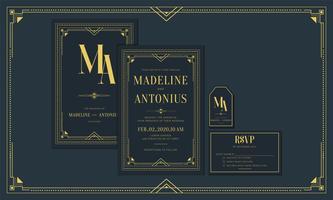 Invitation de mariage / fiançailles Art Déco vintage de style marine haut de gamme, couleur or avec cadre. Inclure Merci Tags et RSVP. Illustration vectorielle