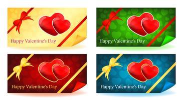 Two hearts - Set de cartes pour la Saint-Valentin vecteur