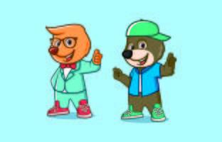 Dessins de mascotte de personnage ours mignon