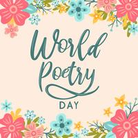 Main lettrage monde fleur fond jour de la poésie - illustration vectorielle