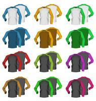 Modèle de t-shirt bicolore vierge à manches longues.