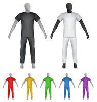 T-shirt uni et pantalon de survêtement sur le mannequin vecteur