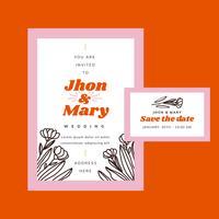 Modèle d'invitation de mariage rouge et rose mignon vecteur