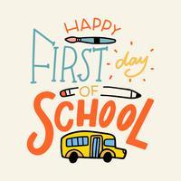 Lettrage coloré avec autobus scolaire, pinceau et crayon vecteur