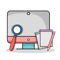 écran d'ordinateur avec loupe et crayon vecteur
