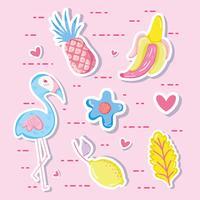 Punchy pastel flamant et fruits vecteur