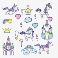 monde imaginaire et magique doodle icônes vecteur