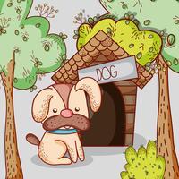 Chien sur la bande dessinée de la maison doodle vecteur