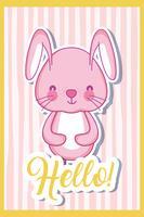 Carte de dessin animé mignon lapin vecteur