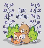 Renards et ours en forêt dessins animés doodle
