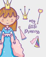 Dessin de dessin de main mignonne petite princesse vecteur