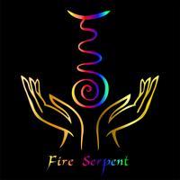 Karuna Reiki. Guérison énergétique. Médecine douce. Serpent de feu symbole. Pratique spirituelle. Esoteric.Open Palm. Couleur arc en ciel. Vecteur