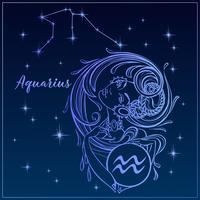 Signe du zodiaque Verseau comme une belle fille. La Constellation Du Verseau. Ciel de nuit. Horoscope. Astrologie. Vecteur.