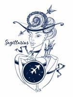 Signe du zodiaque Sagittaire une belle fille. Horoscope. Astrologie. Vecteur.