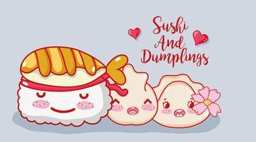 Sushi et boulettes vecteur