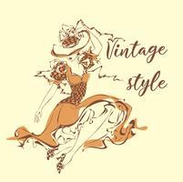 Belle fille au chapeau Style vintage . Dame en robe rétro. Livre graphique. Couvertures de livre. Image féminine romantique. Illustration vectorielle