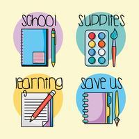 définir des icônes d'ustensiles d'école d'éducation
