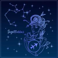 Signe du zodiaque Sagittaire une belle fille. La constellation du Sagittaire. Ciel de nuit. Horoscope. Astrologie. Vecteur.