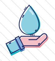 main de l'homme d'affaires linéaire avec goutte d'eau