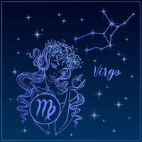 Signe du zodiaque vierge comme une belle fille. La Constellation de la Vierge. Ciel de nuit. Horoscope. Astrologie. Vecteur. vecteur