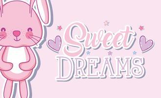 Beaux rêves de dessins animés de lapin vecteur