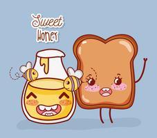 Miel sucré et pain grillé